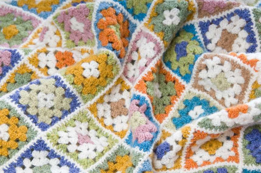 Multi colored blanket in wool