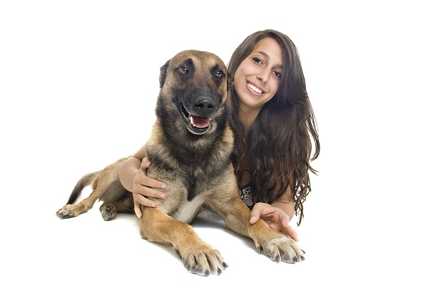 malinois and girl