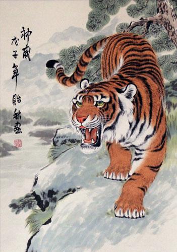 Ancient chinese tiger drawing - photo#6