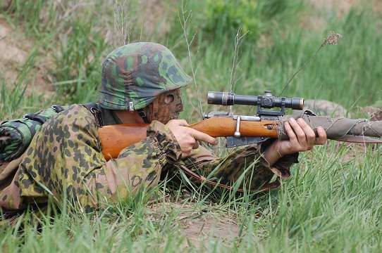 German sniper.WW2 reenacting. Kiev,Ukraine