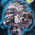 Indian Chief with Wolf