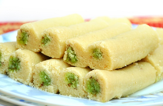 Indian pistachio rollups