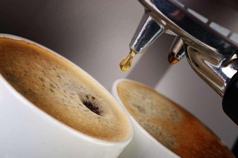 Italian Coffee machine espresso . Process of preparation of coffee