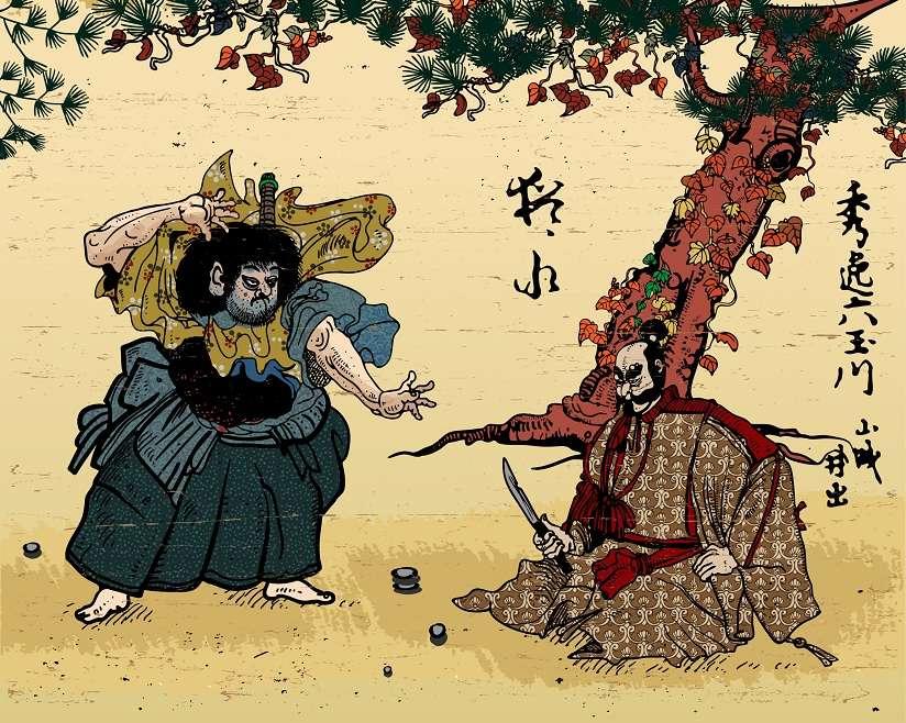 Japanese woodcut print style vector image