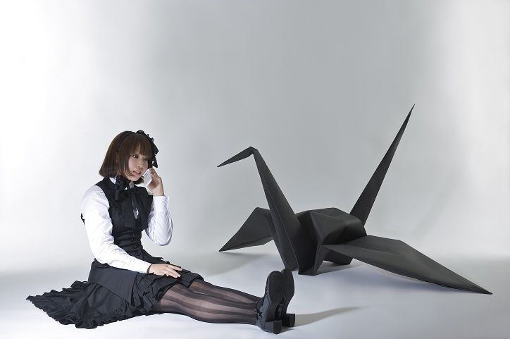 cosplay girl and origami crane