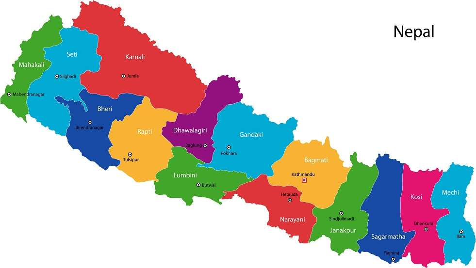 Map of the Federal Democratic Republic of Nepal with zones