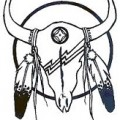 Skull Bull American Indian Feather Tattoo Design