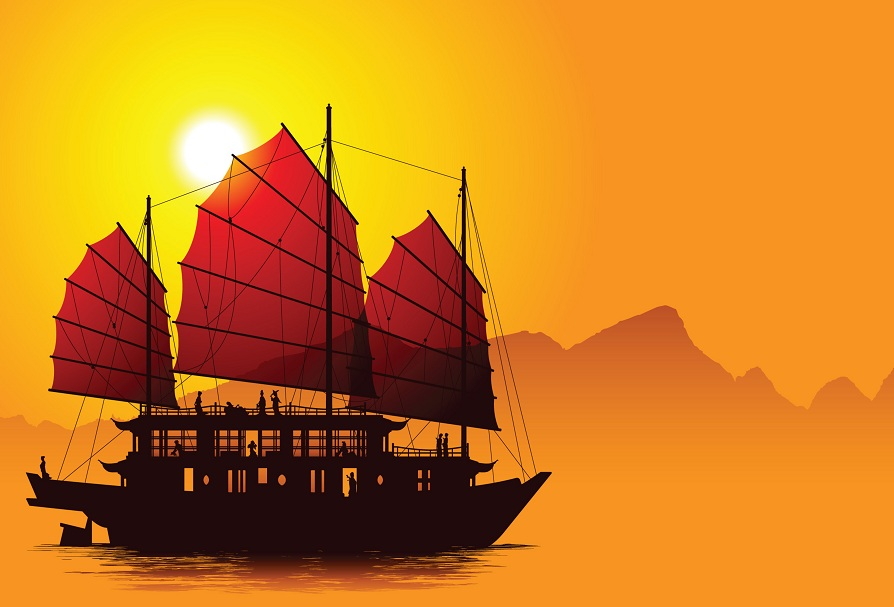 Silhouette of chinese junk