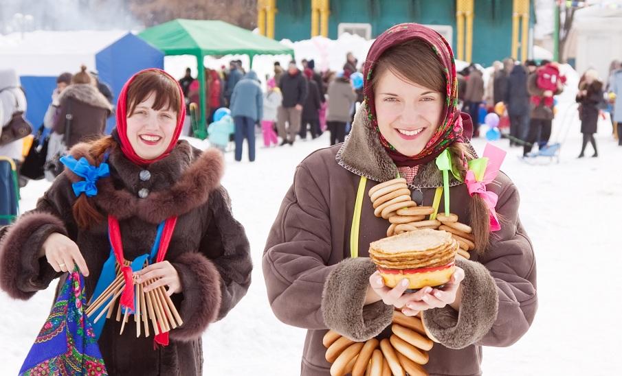 girls celebrating  Shrovetide  at Russia