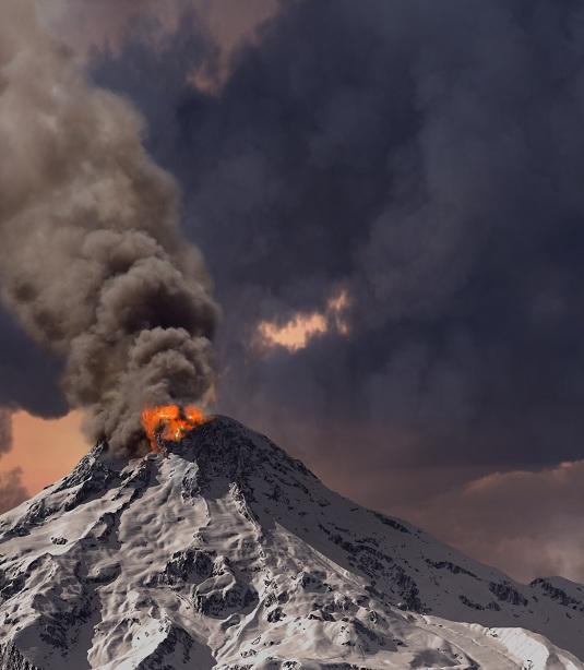 erupting of volcano