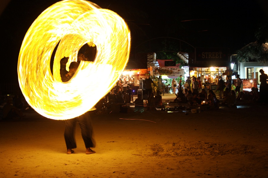 fire show on the beach
