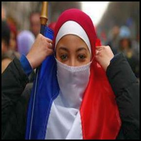 French woman using Tricolore as a face veil