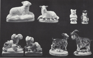 Staffordshire animals and miniature tobies