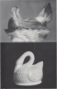 reproduction hen dish and swan dish