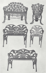 Reproduction of favorite patterns in old iron garden furniture