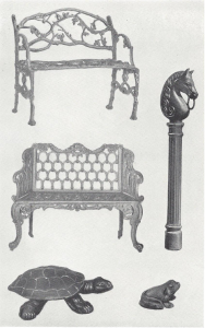 iron hitching post and garden accessories from Virginia