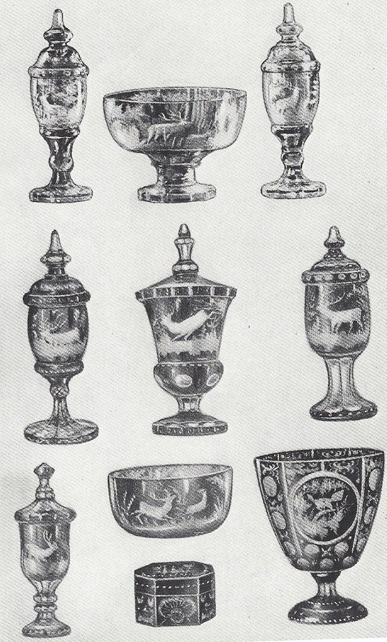 Array of Bohemina engraved pieces